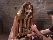 Bondage brunette spanked and tormented