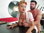 Sexy waitress Natalia Starr wants a juicy cock