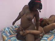 Three ebony beauties lick and tease one another