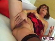 Granny with glasses fucked by younger guy