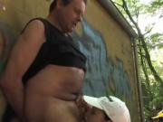 Amateur Goes Down On Her Husband Outdoors