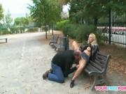 Horny mature couple fucking on public bench