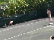 Rushes naked shuttle runs and make out at the tennis court