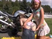 Brunette teen amateur rough sexy g/g biker girls
