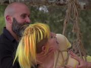 Yellow hair slut anal fucked outdoor