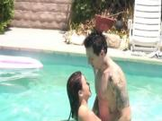 Gorgeous Kaci Starr takes a dip with her tatted up bf