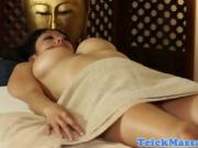 Asian massage babe deepthroats before sex