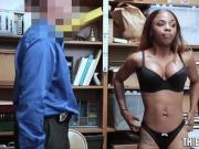 Bad Ebony Shoplifter Enticed To Suck & Fuck Store Guard