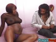 Pregnant ebony babe gets cunt banged by big dick