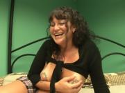 Hot Brunette Milf Strips And Masturbates