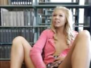 Blonde Teen Masturbating in Library
