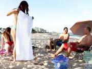 Milf and teen have fun together strapon punished Beach Bait A