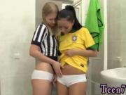 Lesbian workout feet Brazilian player boning the referee