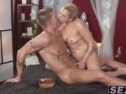 Sexy blonde Britanny Bardot drilled hard after massage