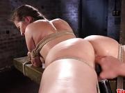 Busty bdsm sub tied up and pussy fingered by maledom