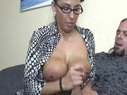Spex mature jizzcovered after stroking fat cock