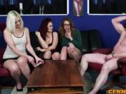 British CFNM babes give lucky dude wankjob