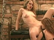 Pretty blonde gets both her holes teased by red head