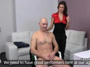 Bald guy nailed casting agent