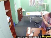 Doctor fucks cleaner before she fingers and pussylicks nurse
