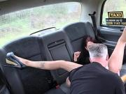 Myla Elyse pees and then she sucks and fucks the taxi driver