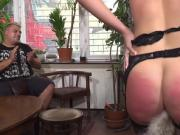 Huge tits slave gets anal in public