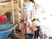 Farm girls sharing a hard dick