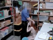 Cute Redhead Caught Shoplifting Blackmailed By Security Fuck