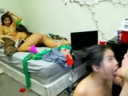 College Girls Lick Pussy And Suck Dick To Start Dorm Party