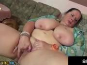 Chubby mature lady toying pussy