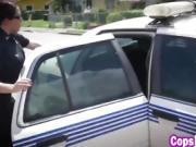 Interracial threeway with female cops