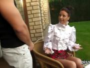 Astounded doll in lingerie is geeting peed on and rode