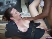 Busty cop gets pounded by long black schlong