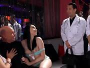 Doctor fucks two strippers in a stripclub and his nurse