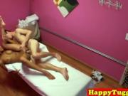 Asian spycam masseuse tugging before riding