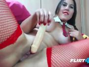 School Girl Outfit Wearing Whore Double Penetrates Herself