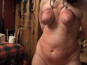 my wife hard flogged in my Bdsm shed