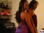 Ebony lesbians satisfying each other