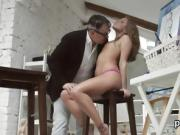 Natural college girl is seduced and rode by her older schoolt