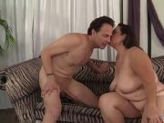 Fat Beauty Angelina Takes a Long Dick in Mouth and Pussy