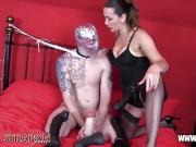 Horny gimp raw despunked gagging fucking femdoms big strapon