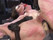 Skinny slave caned and fucked