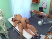 Gal plays with nurse in hospital