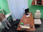 Petite student fucks doctor in office