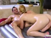 Hot masseuse Abby Cross makes client cum