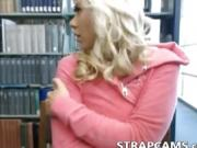 Horny blonde teen in library masturbating