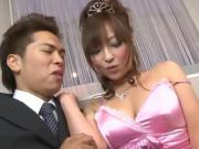 Sexy prom queen princess in silk pink dress gets banged by date
