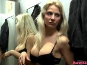 Cocksucking blonde in pussy fucking threesome in a store
