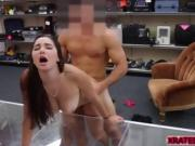 A Student brunette sucks a big hard dick for cash