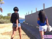 german young skinny latina lesbian outdoor strapon in holiday